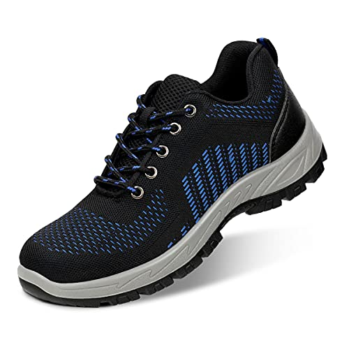Aingrirn Zapatos de Seguridad para Hombre Mujer Cómodos Ligeros Zapatos de Trabajo con Puntera de Plástico Ultraligero Antideslizante Calzado de Seguridad (Color : Blue, Size : 47 EU)