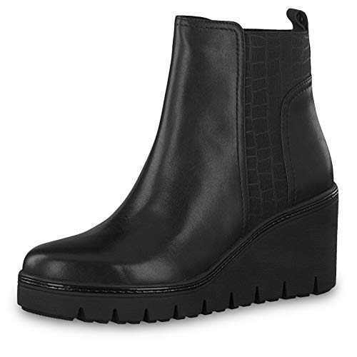 Tamaris Damen Stiefeletten 25430-23, Frauen Keilstiefeletten, Lady Ladies feminin elegant Women's Women Woman Freizeit leger,Black,39 EU / 5.5 UK