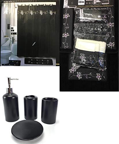 WPM 22 Piece Bath Accessory Set Beverly Black Flower Bath Rug Set + Shower Curtain & Accessories
