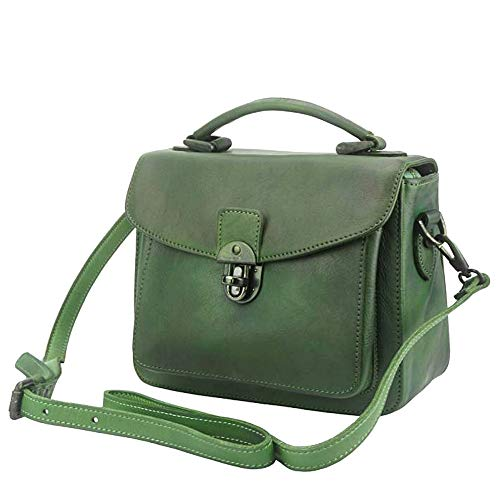 FLORENCE LEATHER MARKET Borsa Verde Scuro a mano da donna in pelle 25x10x20 cm - Montaigne - Made in Italy