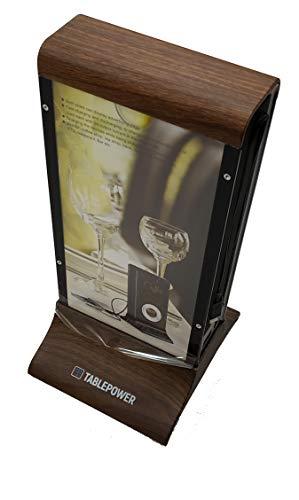 Panel de Publicidad Estática de sobremesa con Power Bank 20800mAh Tablepower. Carga hasta 4 Dispositivos a la Vez (Color Madera)