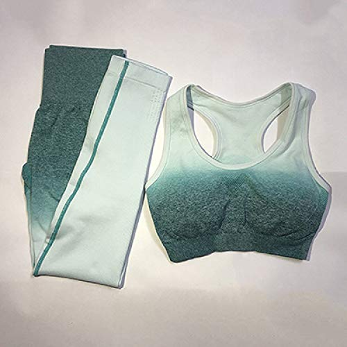 YHWW Ropa de Yoga,Women's Yoga Set Gym Clothing Ombre Seamless Leggings Sports Bra Workout Sports Suit Women Energy Fitness Sportswear Active Wear,Blue,L