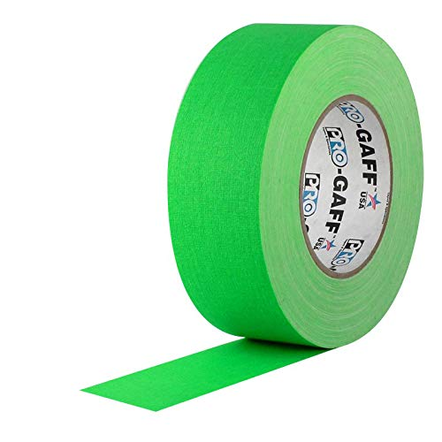 Pro Gaff / Gaffers Tape .5, 1, 2, 3, & 4 Inch Widths X Variable Lengths, 2 Inch, Fl. Green by Pro Tapes