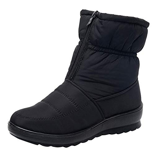 Fire And Safety Shoes, Women Winter Mid Calf Snow Boot Fur Warm Waterproof Anti Slip Outdoor Bootie For Rain Cold Weather, Above Knee Ankle Fancy Across Black After Hours Black 8.5