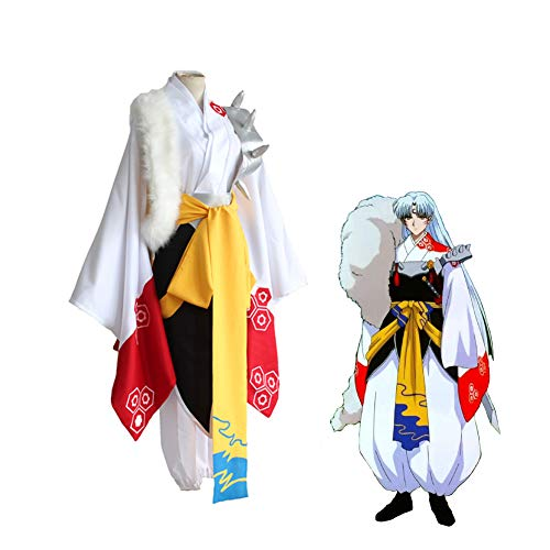 LCHENX-Adultos Anime Inuyasha Sesshomaru Cosplay Disfraz para Juego Completo de Kimono de Nio de Carnaval de Uniforme de Fiesta de Juego Cmico,Blanco,XL
