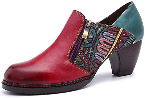 CrazycatZ Damen Leder Pumps Bunte Schuhe Stiefeletten mit Absätzen Blumen Handgefertigte Vintage Patchwork (39 EU, ROT A)