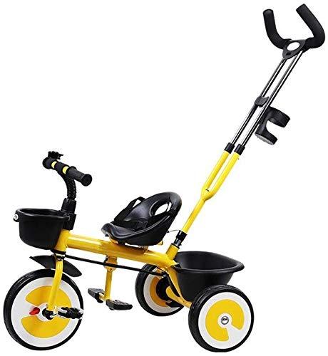 WLD Kinderen Training Voertuig Kinderdriewieler Baby wandelwagen Bromfiets Kinderen Fiets 1-3-6 Jaar Oude Baby Vervoer Jongen en Meisje driewieler Stoelgordel Cages 3 Kleur Opties Geel