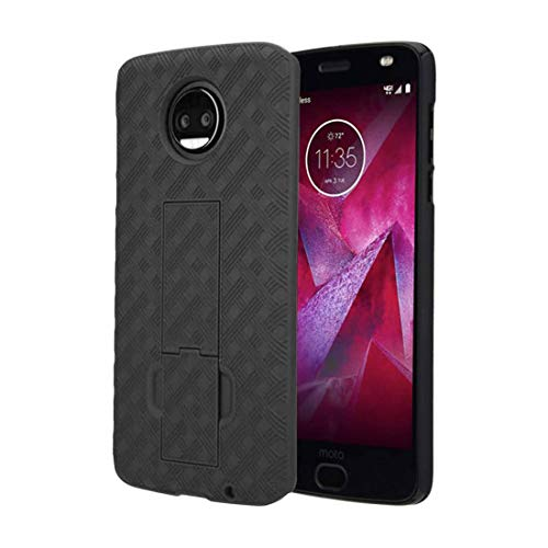 Rome Tech Holster Case with Belt Clip for Moto Z2 Force / Z2 Play - Slim Heavy Duty Shell Holster Combo - Rugged Phone Cover with Kickstand Compatible with Motorola Z2 Force - Black