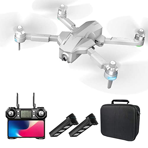 JJDSN GPS Drone with 4K HD FPV Camera, Quadcopter Drones for Adults, Foldable Drone Brushless Motor, 1000M Remote Control Distance, 2 Batteries, 110deg; Wide-Angle Camera (Color : White)