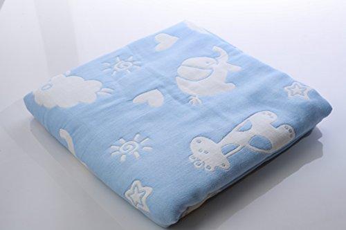 Organic Cotton Muslin Swaddle Blanket 6 Layer Multi Blue Fish Pattern Baby Bath Towels Oversize 110cm x 110cm/43' x 43' …