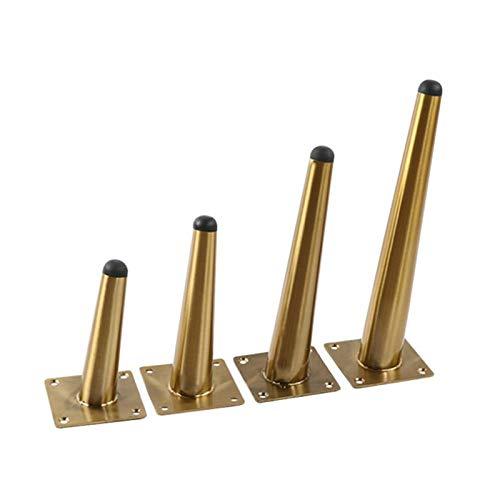 4 unids Patas de muebles Metal Muebles de acero inoxidable Pies rectos/oblicuos Pies cónicos para armarios Sofá Tabla Tabla Tablero Barra de mesa (Oro) (Size : 10cm, Style : Oblique)