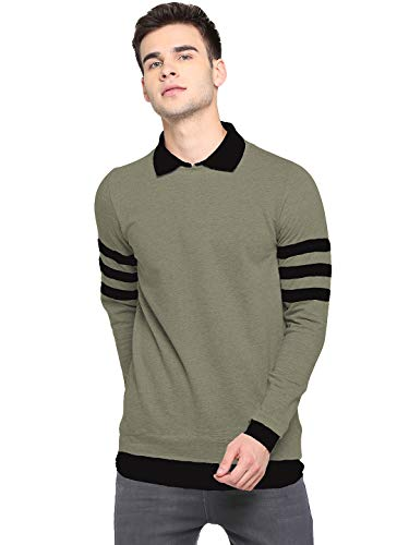 LEWEL Men's Cotton Collared Neck Self Design T-Shirt - Olive (Large)