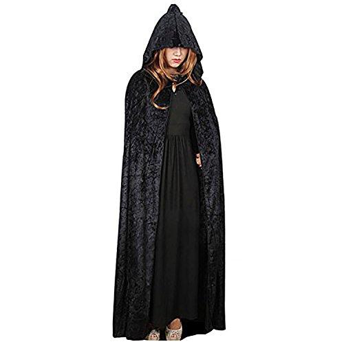 Halloween in velluto con cappuccio mantello per Halloween Costume medievale costume Wicca vampiro mantello lungo Goth Strega Black Taglia unica