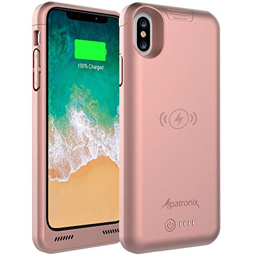 iPhone Xs/X Battery Case, BXXs Slim Portable Protective Extended Charger Cover with Wireless Charging Compatible with iPhone X & iPhone Xs (5.8 inch) -(Rose Gold)