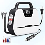 Greaval Air Compressor Tire Inflator AC 110V/ DC 12V Dual-use Portable Air Compressor with Emergency LED Light, Digital Pressure Gauge Tire Inflator for Car Tires, Motorcycle, Ball