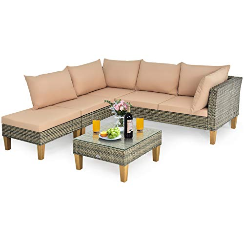Tangkula 4 PCS Wicker Sectional Sofa Set, Outdoor Rattan Patio Furniture Set with Acacia Wood Legs, L-Shaped Conversation Sofa Set with Glass Coffee Table & Cushions for Porch Garden Pool (Khaki)