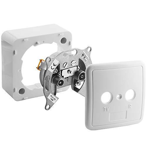 Universal Antennen-Dose Durchgangsdose für TV und Radio mit Rahmen und Abdeckung 75Ohm, 1 Koax Stecker männlich und 1 Koax Buchse Kupplung weiblich, geeignet für 3D SD HD FullHD UHD 4K, Weiss
