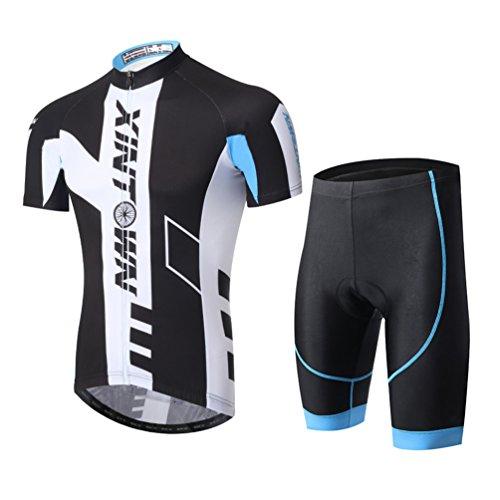 YOUJIA Hombres Pantalones Cortos Maillot de Ciclismo Mangas Cortas Transpirable para Deportes...