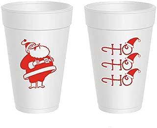 Christmas Styrofoam Cups - Ho Ho Ho Santa Hat (10 cups)