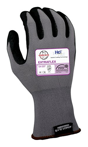 Armor Guys 04-007 (XL) 1 Extraflex, 15g, Nylon Liner, Black HCT Nitrile MicroFoam Palm Coating with Dots (One Pair), XL, Gray