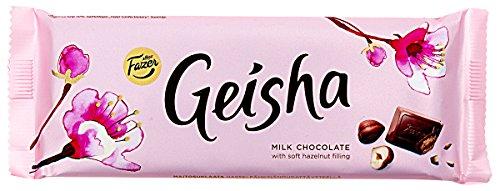 2 Bars x 100 g von Fazer GEISHA Traditionell Finnisch Milchschokolade mit weichem Haselnuss Füllung