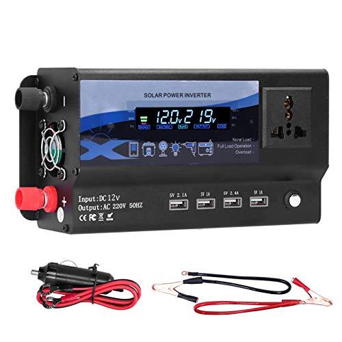 aqxreight - Inversor de corriente para automóvil de 3000 W con luz ambiental colorida LED, convertidor de cargador de 4 puertos USB(A (12V))