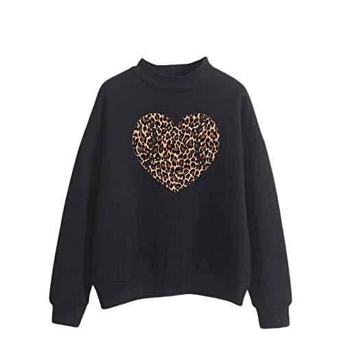 Blusa para mujer con diseño de corazón, manga larga, con estampado de letras, cuello redondo, para mujer
