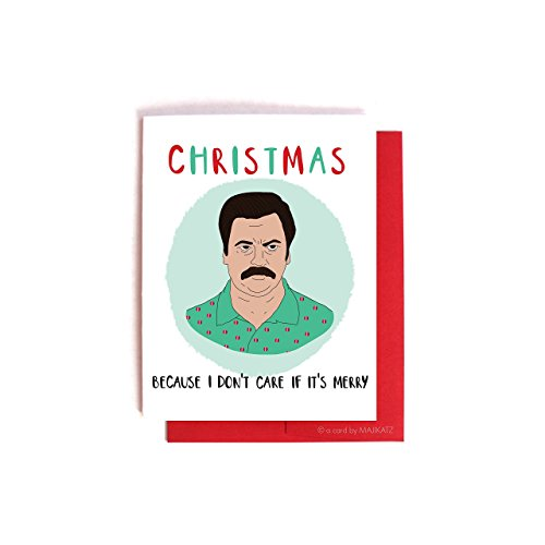 Don't Care If It's Merry - Funny Ron Swanson Christmas Holiday Card