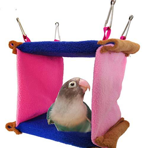 鳥の巣のハンモック、オウムのテントルームのベッド、生息地、両面クッション、鳥かごの金属製バックル、バッジー、マコー、アマゾンラブオウム、マコー、1個に適しています