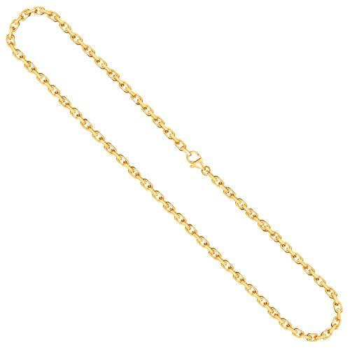 EDELWEISS Cadena para Hombre de Oro Real de 3.8 mm, сadena Diamante del Anclaje Oro Amarillo 18 k 750, Cadena de Oro con Sello, con сierre de mosquetón, Long. 55 cm, p. 49.5 g