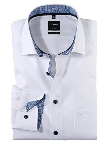 OLYMP Herren Oberhemd Langarm Luxor,Uni,modern fit,Global Kent,Weiß 00,48
