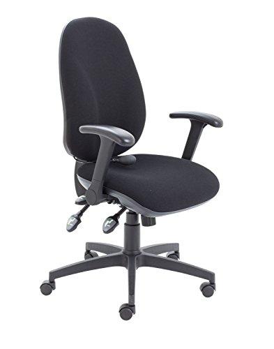 Büro Hippo ergonomisch Gepolsterte Stuhl hohe Rückenlehne mit Lenden-Pumpe und klappbare Armlehnen, Stoff, Schwarz, 60x 60x 106cm