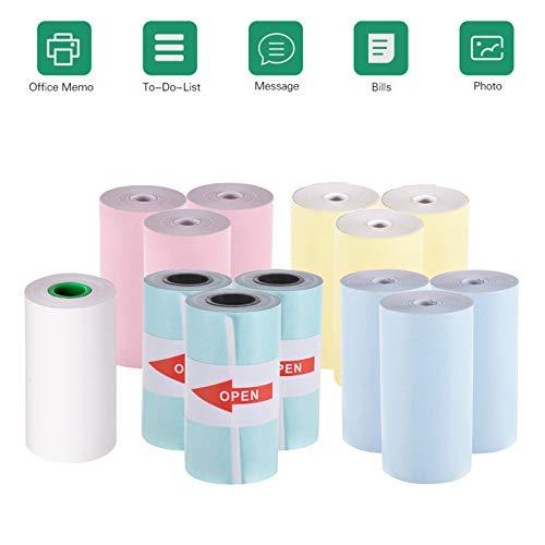 3 rotoli di carta adesiva adesiva stampante termica tascabile Stampante per carta per ricevute senza fili BT Picture Label Memo 9 rotoli di carta termica a colori Aibecy PeriPage Mini stampante