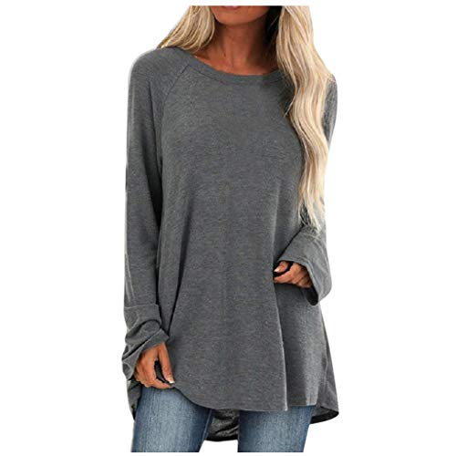 Aniywn Women's Plus Size Sweatshirt Tops Ladies Baggy Long Sleeve Thin Solid Pullover Blouse T Shirts(Gray,M)