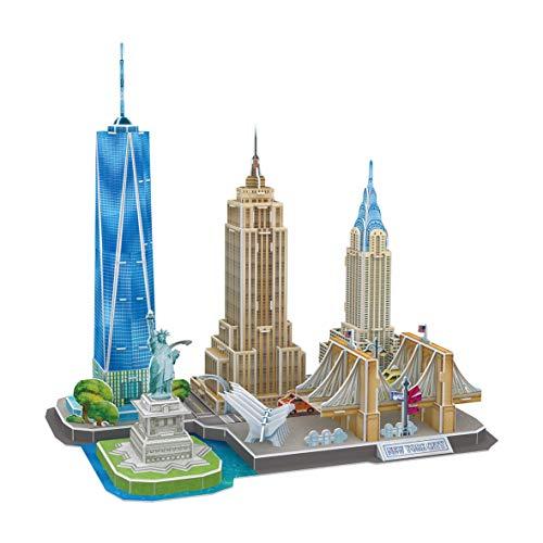 World York City Puzzle für Erwachsene und Kinder, Modellbau, 3D-Puzzle, lustige Geschenke, Kultur, Reisen aus dem Haus (CubicFun MC255h)