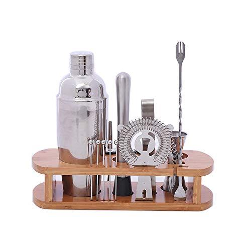 Gyubay Práctico Juego de Coctelera Acero for Herramientas 16pc Camarero Kit con el Soporte Coctelera Profesional de Acero Conjunto Camarero Kit Diseño Ligero (Color : Silver, Size : M)