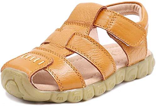 Cotouke Unisex-Kinder Sandalen Mädchen Jungen Kindersandale Geschlossene Leder Sandale Sommer Sandaletten Lauflernschuhe Schuhe Gelb 27 EU/27 CN