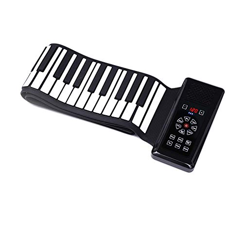 iLearnMusic Electronic Roll Up Piano Keyboard with Touch Screen Control Center, Portable Keyboard Piano, Premium Grade Silicone & Amplifying Speakers (88 Keys, Black)
