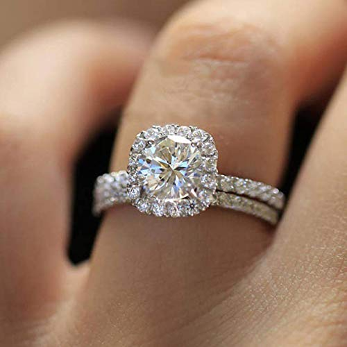 MAIHAO Fashion Ring Cushion Cut ct Zircon Stone 925 Sterling Silver Engagement Wedding Band Ring Cubic Zirconia Promise Halo Engagement Ring Anniversary Size 6-10 (US Code 6)