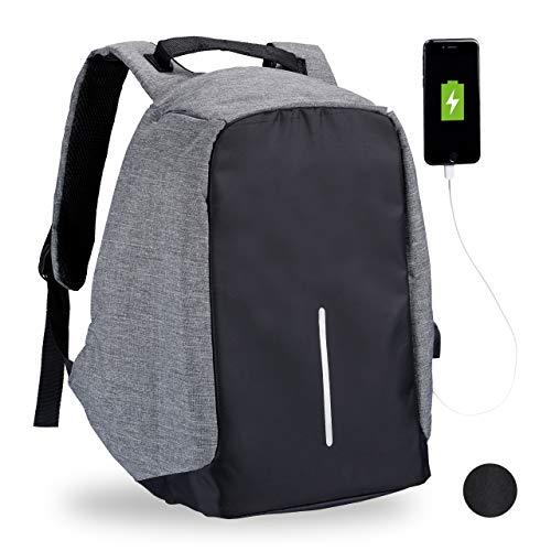 Relaxdays Anti Diebstahl Rucksack, wasserabweisender Sicherheitsrucksack, mit USB-Kabel, Laptop, Damen & Herren, grau