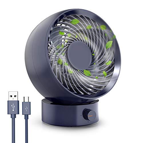 Ventilador USB, RATEL Ventilador de Escritorio portátil mini, 180° Velocidad Variable & Ángulo de rotación de 20 °, Con cable de 1,2 m, adecuado para el hogar, la oficina (Azul)