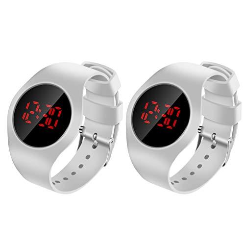 ibasenice 2 Stück Kinder Digitale Touchscreen-Uhr Elektronische LED-Sportuhr Wecker mit Armbanduhren für Kinder Kind Jungen Studenten (Weiß)