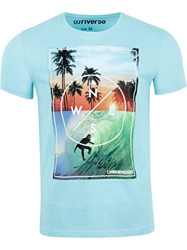 riverso Herren T-Shirt RIVLukas Fotodruck Rundhals O-Neck Kurzarm Shirt Regular Baumwolle Grün Blau Weiß Grau Gelb Türkis S M L XL XXL 3XL 4XL 5XL, Größe:M, Farbe:Türkis (LJD)