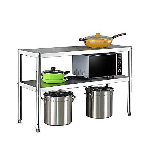 Soporte para Microondas, estante de cocina de acero inoxidable de pie, rejillas de almacenamiento de horno doméstico de tres niveles espesados/Plata / 90cm
