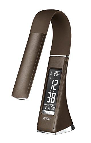 WILIT U2 Dimmbare Schreibtischlampe LED mit Wecker, Dimmbarer Bildschirm, Kalender, Uhrzeit und Temperaturanzeige, 5W Tischlampe mit 3 Helligkeitsstufen, Braun