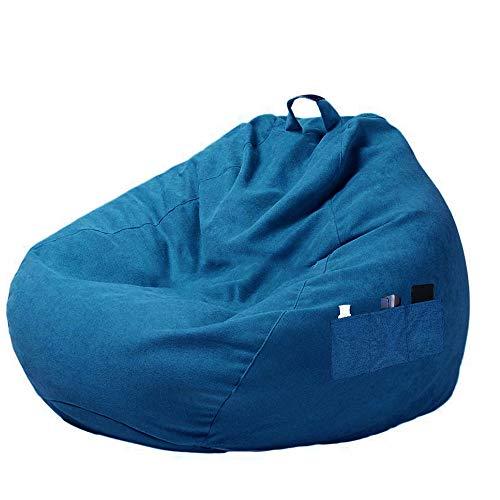 Hands DIY Funda para sillón tipo saco con asa y bolsillos laterales, funda para puff con cremallera para sillón tipo saco de relleno, color azul, 100 x 120 cm
