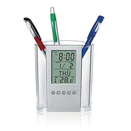 Galapara Cubilete Portalápices, Lápiz Soporte para lápices LCD Digital Escritorio Reloj Despertador Soporte para lápices Calendario Temporizador Temperatura Escritorio Reloj electrónico Oficina