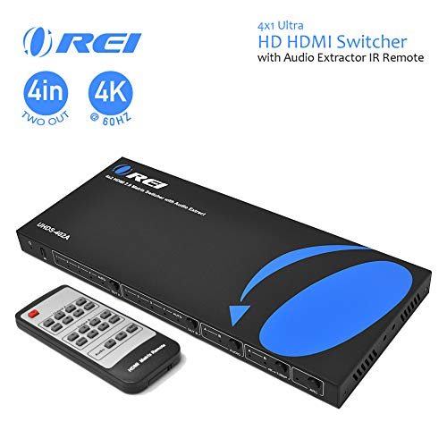 4K HDMI Matrix Switch 4 X 2 by Orei Switcher 18G UltraHD with Arc Supports Upto 4K @ 60Hz & 1080P IR Audio Extractor Arc EDID HDCP 2.- Remote Control - Full Matrix Selection