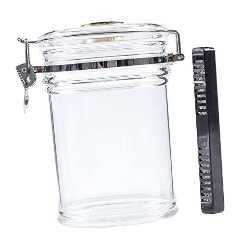FITYLE Tarro de humidificador acrílico con higrómetro humidificador, caja de sellado de humedad de estaño de tabaco olla transparente