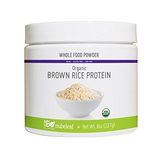 Nubeleaf Brown Rice Protein Powder - Non-GMO, Gluten-Free, Raw, Organic, Vegan Source of Fiber & Essential Amino Acids - Single-Ingredient Nutrient Rich Superfood for Cooking, Baking, Smoothies (8oz)